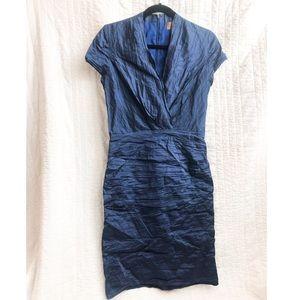Nicole Miller navy blue cap sleeve cocktail dress